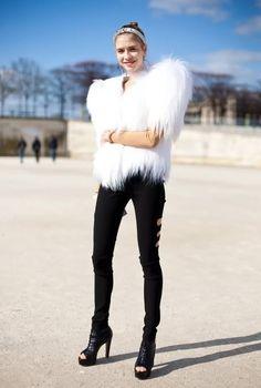 white fur, black skinnies and boots. Paris Fashion Week, Les Tuleries. Ladies Street Style, Women's Fashion