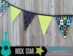 Groovy Guitar  Rock Star Fabric Pennant by LittleFreeRadical, $30.00