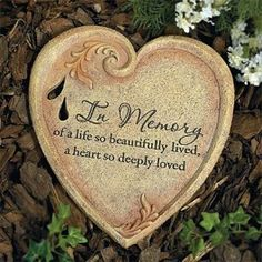"Memorial Gift Idea for Loss of Mother of Loss of Father: A perfect sympathy gift, our heart-shaped memorial garden stone has the following comforting verse: ""In Memory of a Life so Beautifully Lived, a Heart so Deeply loved.""  If you aren't sure what to say or do at time of loss, this memorial garden stone is the ideal sympathy gift because of its moving and heartfelt sentiment.  This gift can be given to a man, woman or family because it can be easily placed in a garden or in a yard.."