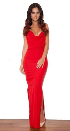 'Pabla' Red Crepe Low Back Maxi Dress