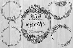 Set of Hand Drawn Wreaths & Elements for DIY design - Perfect for wedding decor, quotes, blogs