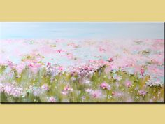 Acrylic Painting, ART, painting, Abstract Contemporary pink Flowers Landscape,flower paing,original abstract painting - modern art