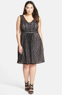 30c651c7d6 ADRIANNA PAPELL FOR LANE BRYANT PLUS SIZE BLACK LACE FIT  amp  FLARE DRESS  18W NEW