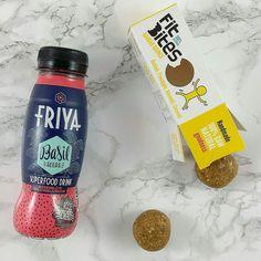 Merienda sorprendente la de hoy Fitbites @fitbitesuk de baobab piña almendra y coco  y  Bebida de albahaca @friya.at  Utilizad mi código ESTUPENDOS10 en la tienda online de @mydietbox y obtendréis un 10% de descuento en vuestra compra