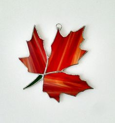 Fall Leaf Stained Glass Suncatcher  Autumn by StainedGlassYourWay