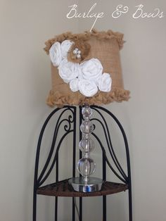 Shabby chic lamp shade by BeyondBurlapAndBows on Etsy, $40.00