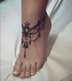 Image result for ankle chain tattoo