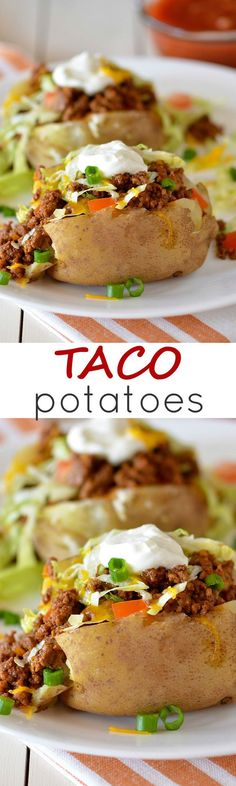 Seasoned ground beef and all your favorite taco toppings loaded on a baked potato! Seasoned ground beef and all your favorite taco toppings loaded on a baked potato! Beef Dishes, Food Dishes, Mexican Food Recipes, Dinner Recipes, Dinner Ideas, Supper Ideas, Cooking Recipes, Healthy Recipes, Kabob Recipes