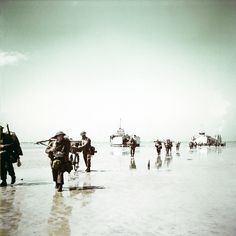 Operation Overlord Normandy, Troops of the 3rd Canadian Infantry Division are landing at Juno Beach on the outskirts of Bernieres-sur-Mer on D-Day, 6th June 1944. 14,000 Canadian soldiers were put ashore and 340 lost their live in the battles for the beachhead. France. (Photo by Galerie Bilderwelt/Getty Images)