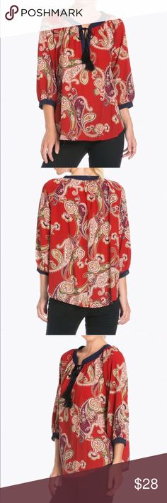 🆕🌟 Paisley Self-Tie Tassel Top NOW IN STOCK! This paisley blouse is BEAUTIFUL! Great quality, and looks sharp with dress pants for a day at the office, or with skinnies for a night out! 💖  ✨Materials 100% Polyester  📏Sizing S (2-4), M (6-8), L (10-12)  🇺🇸Made in USA  🌟Bundle 2 or more items and save 15%!  📸 Follow me on Instagram @cubbycreekboutique Tops Blouses
