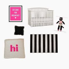 Black, White and Pink Nursery #nurserydecor #homedecor #baby #babydecor #decor #crib