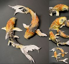 Kubie's NSFW Fruity Rumpus Asshole Factory — whimsebox: Koi fish by Creatures of El on Etsy Art Koi, Fish Art, Origami Koi Fish, Koi Kunst, Art Actuel, O Pokemon, Fish Sculpture, Animal Sculptures, Fantasy Creatures