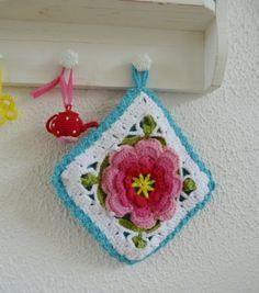 Crochet potholder, gehaakte pannenlap, vakantieproject 2