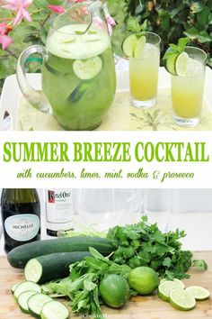 Summer Breeze Cocktail is an easy summertime drink that will cool you off on a hot day! A cross between a smoothie and a cocktail, fresh cucumbers combine with limes, cilantro, mint and vodka then topped off with the effervescence of Prosecco to flavor up Summertime Drinks, Summer Drinks, Cocktail Drinks, Fun Drinks, Cocktail Recipes, Alcoholic Drinks, Beverages, Malibu Cocktails, Disney Cocktails