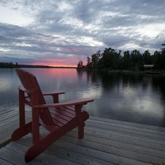 Muskoka chair on the dock at sunset in Lake of the Woods,Ontario photo Lakeside Living, Outdoor Living, Peaceful Places, Beautiful Places, La Rive, Lake Cabins, Lake Life, The Great Outdoors, Scenery