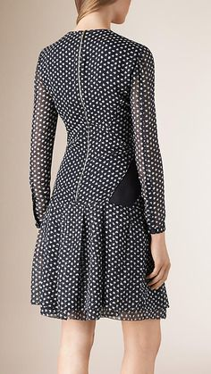 Navy Printed Silk Dress with Contrast Panels - Image 2