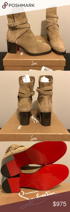 "NWT Christian Louboutin Boots Looking to sell this week otherwise I'm going to give it to a friend! Price is firm. Don't miss out :) Brand new tan/camel color ankle boots with ""Karistrap's"" winding striated buckle strap and 70mm heel height, size 7 (37). Features a slightly higher front panel. 💯% authentic CL purchased at Bergdorf Goodman. Love this style, however when I tried it on after receiving it, the toe box was too narrow for me. Not looking for trades, sorry! Christian Louboutin…"