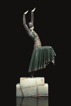 DEMETRE CHIPARUS | VESTED DANCER SCULPTURE, CIRCA 1925