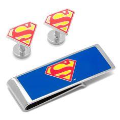DC Comics Superman Shield Cufflinks and Money Clip Gift Set