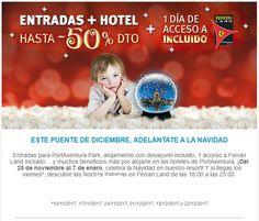 PORTAVENTURA (Vila-seca, Tarragona) ---- Entrada Hotel + Parque, hasta un 50% de descuento !!!! ---- Estancias del 25 noviembre al 07 enero de 2018 ---- Entradas para PortAventura Park, alojamiento con desayuno incluido, 1 acceso a Ferrari Land incluido… y muchos beneficios más por alojarte en los hoteles de PortAventura. ---- ¡Del 25 de noviembre al 7 de enero, celebra la Navidad en nuestro resort! Y si llegas los viernes*, descubre las Noches Italianas en Ferrari Land de las 18:00 a las…