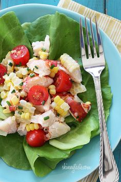 The perfect light summer salad, made with sweet summer corn, grape tomatoes, garden herbs and chilled steamed lobster. Serve this for two as a main dish salad