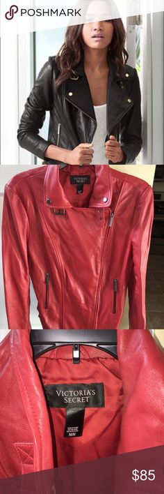 """Light Red Leather Jacket The iconic moto jacket is reinvented with brass accent hardware. Side buckles and an asymmetric front add edge. Femme-friendly seams ensure a shape-living fit. Double buckle details at sides. Fully lined 24""""length. Professional leather clean. Genuine leather/soft leather.    Worn once/no stains  cover photo is pictured in black. Jacket for sale is lt red. Victoria's Secret Jackets & Coats"""