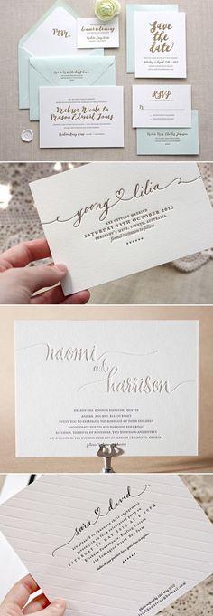 Estas con letterpress (bajo relieve) son divinas pero quizas mas dificiles de conseguir proveedor / mas caras