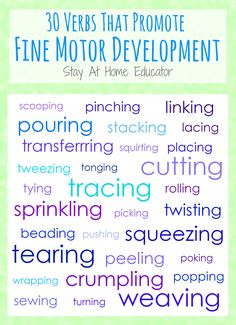 30 Verbs That Promote Fine Motor Development Printable - Stay At Home Educator - Stay At Home Educator