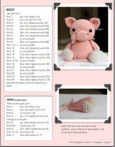 Amigurumi Crochet Pattern Hamlet the Pig por littlemuggles en Etsy