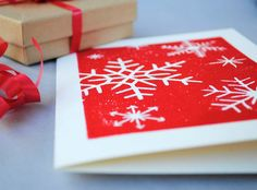 Red Snowflakes Holiday Card Scarlet Handprinted by CursiveArts