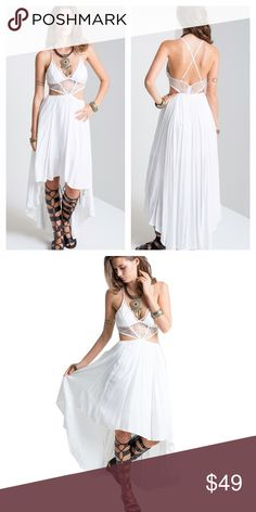 🆕White Gypsy Boho High Lo Summer Dress Brand new gorgeous summer dress. Lovely detailing at bust and high lo flowing hemline. You will feel like the goddess you are in this! Ships same day. Bundle and save! Dresses High Low