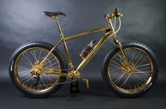 World's Most Expensive Items Made of Gold: Gold Extreme Mountain Bike - Ri. - Most Expensive Gold Items - Extreme Mountain Biking, Mtb, Fat Bike, Most Expensive, Everyday Objects, Cycling Bikes, Solid Gold, Cool Stuff, Stuff To Buy