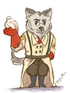 furry trash chibi werewolf!medic by hotpocketmedick