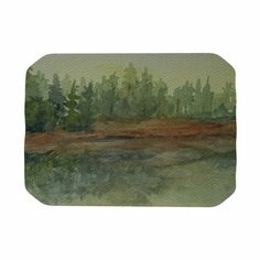 """Cyndi Steen """"Green And Gold Reflections"""" Green Watercolor Place Mat"""