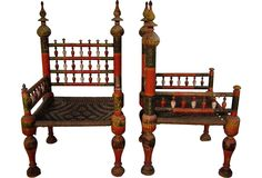 Indian Hand Painted Low Meditation Chair W Kilim Covered Cushion Indian Interlude Pinterest