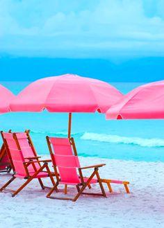 Pink Beach chairs and pink umbrella Pink Umbrella, Beach Umbrella, Pink Beach, Beach Bum, Pink Ocean, Playa Beach, Beach Gear, Summer Fun, Summer Time