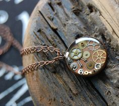 Copper Steampunk pendant with mixed colored watch by BluePendulum