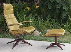 Homecrest Vintage Mid Century Modern Wire Chair Rocker Lounge Ottoman Eames
