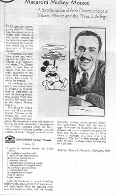 """""""Macaroni Mickey Mousse""""by Jim Korkis Retro Recipes, Old Recipes, Vintage Recipes, Cooking Recipes, Cooking Bacon, Blender Recipes, Simply Recipes, Disney Inspired Food, Inspiring Art"""
