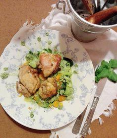 Io Healthy Kitchen: Frango no forno com Tagliatelli de courgete e ceno...