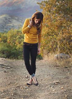 Pale Mustard sweater, reminiscent of Fall