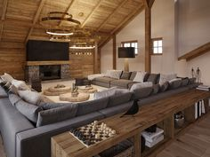 Modern Cabin Interior, Country Interior Design, Modern Rustic Homes, Modern Architecture House, Interior Architecture, Chalet Design, Cabin Design, Classic Living Room, Home Living Room