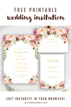 Freely Editable Wedding Invitation Suite - Invite, RSVP and Details Card - Gold Watercolor . Freely Editable Wedding Invitation Suite – Invite, RSVP and Details Card – Gold Watercolor Flow Free Printable Wedding Invitations, Diy Invitations, Wedding Invitation Suite, Wedding Stationery, Invitation Kits, Invitation Wording, Invitation Design, Invites, Wedding Details Card