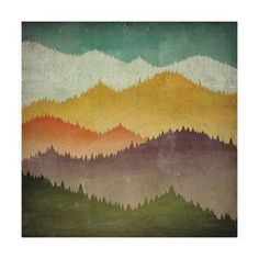 """Colorful painting of mountain silhouettes at different altitudes - """"Mountain View"""" wall art by Ryan Fowler from Great BIG Canvas Painting Inspiration, Painting, Stretched Canvas Wall Art, Mountain Paintings, Art, Abstract, Mountain Art, Graphic Art, Trademark Fine Art"""