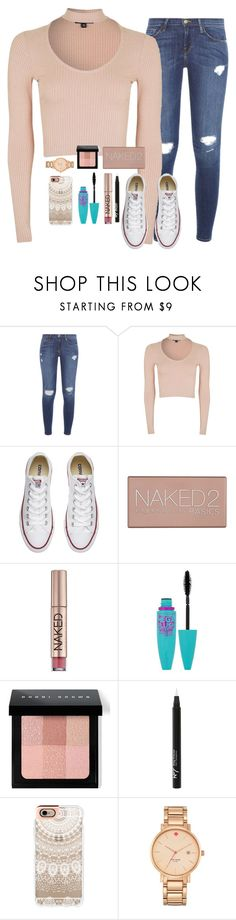 """""""my actual ootd"""" by torideckerrr ❤ liked on Polyvore featuring Frame, Topshop, Converse, Urban Decay, Maybelline, Bobbi Brown Cosmetics, Boots No7, Casetify and Kate Spade"""