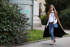 How To Dress Like A French Girl #refinery29  http://www.refinery29.com/63682#slide65  And, for the grand finale: jeans and a cape that really get each other. The topper dresses up the pants while keeping that denim cool intact.