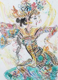 Gunarsa, Nyoman (Klungkung, Bali, 1944 - Bali, - Movement In Space/Tari Bali (Legong) Bali Painting, Hippie Painting, Painting On Wood, Barong, Fine Art Auctions, Iphone Background Wallpaper, Lombok, Art Sketchbook, Aesthetic Art