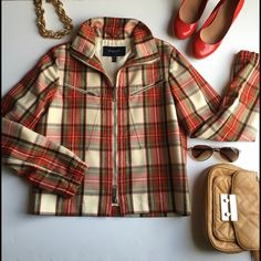 Burberry zip up jacket Us size 8/ uk size 10. 21.5 inches long from shoulder to waist. 25 inches from shoulder to wrist. Bust 34. 100% wool. Burberry Jackets & Coats Blazers