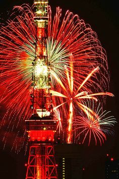Tokyo tower & fireworks, Japan
