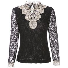 Rhinestones Embellished Stand Up Collar Long Sleeve Women s Lace T... ($20) ❤ liked on Polyvore featuring tops, t-shirts, longsleeve t shirts, long sleeve lace top, long sleeve t shirts, lace tee and lacy tops